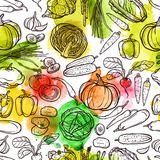 Watercolor Vegetable Pattern Stock Image