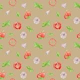 Watercolor vegetable seamless pattern on beige background. Garlic, basil leaf, bell pepper. vector illustration
