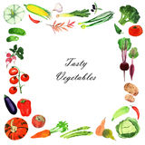 Watercolor vegetables frame. Royalty Free Stock Image
