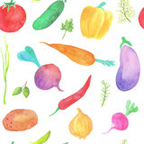 Watercolor vegetables seamless pattern. On white background Royalty Free Stock Photography