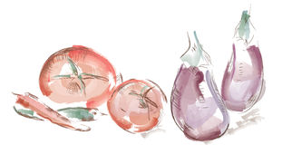 Watercolor vegetables Royalty Free Stock Photos