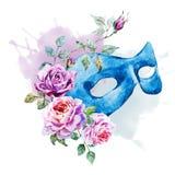 Watercolor Venecian Mask Stock Photography