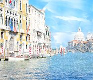 Watercolor Venice painting. Abstract watercolor digital generated painting of the main water canal, houses and gondolas in Venice, Italy Stock Images