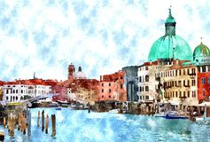 Watercolor Venice painting. Abstract watercolor digital generated painting of the main water canal, houses and gondolas in Venice, Italy Royalty Free Stock Photos