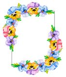 Watercolor vertical floral frame background with bouquets viola pansies. Flower frame with blank center for custom text. For stock illustration