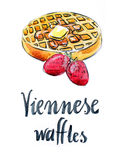 Watercolor Viennese waffles Stock Image