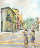 Watercolor view in ancient downtown Stock Images