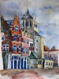 Watercolor view of Delft, the Netherlands. Royalty Free Stock Image