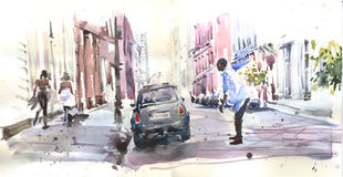 Watercolor view in downtown Royalty Free Stock Photography