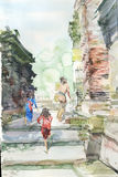 Watercolor view in historical sites Stock Photo