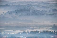 Watercolor View Of Foggy Morning Landscape. Hpa An, Myanmar (Burma) Royalty Free Stock Images