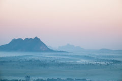 Watercolor View Of Foggy Morning Landscape. Hpa An, Myanmar (Burma) Royalty Free Stock Photos