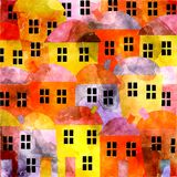 Watercolor Village Royalty Free Stock Images