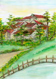 Watercolor village hill. Hand painted old village on a hill Stock Photo