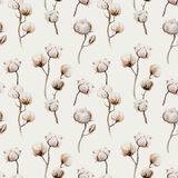 Watercolor vintage background with twigs and cotton flowers boho. Decoration. Softness Botanical watercolour seamless pattern print. Bohemian floral branch Stock Image