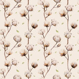 Watercolor vintage background with twigs and cotton flowers boho Stock Photography