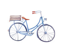 Watercolor vintage  bicycle with box of flowers Stock Images