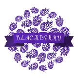 Watercolor vintage blackberry vector background with ribbon Stock Photo