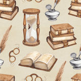Watercolor vintage books illustration Royalty Free Stock Images