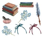 Watercolor vintage books set. Hand Drawn a pile of old books, ink bottle, ink feather, floral twig, rare paper. Antique