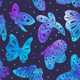 Watercolor Vintage butterfly seamless pattern Royalty Free Stock Images