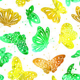 Watercolor Vintage butterfly seamless pattern Stock Photo