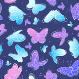 Watercolor Vintage butterfly seamless pattern Stock Image