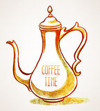 Watercolor vintage cafetiere Royalty Free Stock Photography