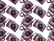 Watercolor vintage camera pattern Stock Photography