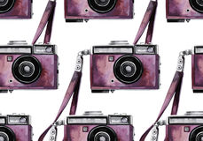 Watercolor vintage camera pattern Royalty Free Stock Photography