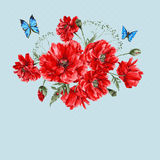 Watercolor Vintage Card with Red Poppies Bouquet Royalty Free Stock Photos