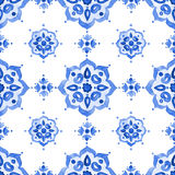 Watercolor vintage filigree cobalt blue ornament. Delft blue style seamless pattern. Watercolor vintage filigree cobalt blue ornament for textile, fabric Stock Photo