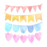 Watercolor vintage flags garlands set in vector Stock Photography