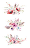 Watercolor vintage floral bouquet. Boho spring flowers and leaf Stock Photography