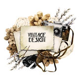 Watercolor vintage floral card Stock Photography