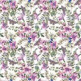 Watercolor vintage floral forest seamless pattern with berries, moth, fern, pink flowers vector illustration