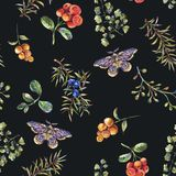 Watercolor vintage floral forest seamless pattern with fir branches, berries, moth, flowers and fern royalty free illustration