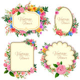 Watercolor Vintage floral frame Royalty Free Stock Images