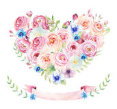 Watercolor vintage floral piony heart bouquet. Boho spring flowers and leaf frame isolated on white background: succulent, branch stock illustration