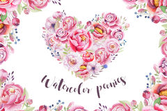 Watercolor vintage floral piony heart bouquet. Boho spring flowers and leaf frame isolated on white background: succulent, branch vector illustration