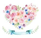Watercolor vintage floral piony heart bouquet. Boho spring flowe Stock Image