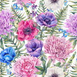 Watercolor vintage floral seamless pattern Stock Image
