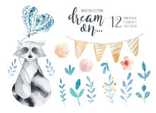 Free Watercolor Vintage Floral Set. Boho Spring Flowers And Leaf Royalty Free Stock Photography - 91658917