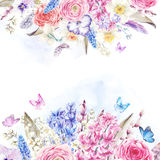 Watercolor  vintage flowers bouquet in the nest with butterflie Stock Image