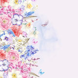 Watercolor  vintage flowers bouquet in the nest with butterflie Royalty Free Stock Images