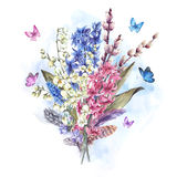 Watercolor  vintage flowers bouquet in the nest with butterflie Royalty Free Stock Image