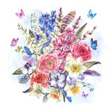Watercolor  vintage flowers bouquet in the nest with butterflie Royalty Free Stock Photos