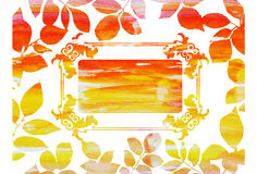 Watercolor Vintage frame in autumn leaves Royalty Free Stock Image