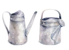 Watercolor vintage gardening tools rusty tin watering can for watering flowers. Hand drawn isolated illustration on. White background. Flower bouquets royalty free illustration
