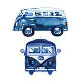 Watercolor Vintage Hippie Camper Van, isolated on white background. Retro illustration. Element for your design. Watercolor texture stock illustration